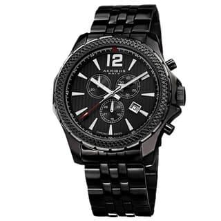 Akribos XXIV Men's Swiss Quartz Chronograph Stainless Steel Black Bracelet Watch with FREE GIFT|https://ak1.ostkcdn.com/images/products/8752976/P15997500.jpg?impolicy=medium