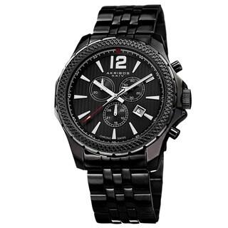 Akribos XXIV Men's Swiss Quartz Chronograph Stainless Steel Black Bracelet Watch