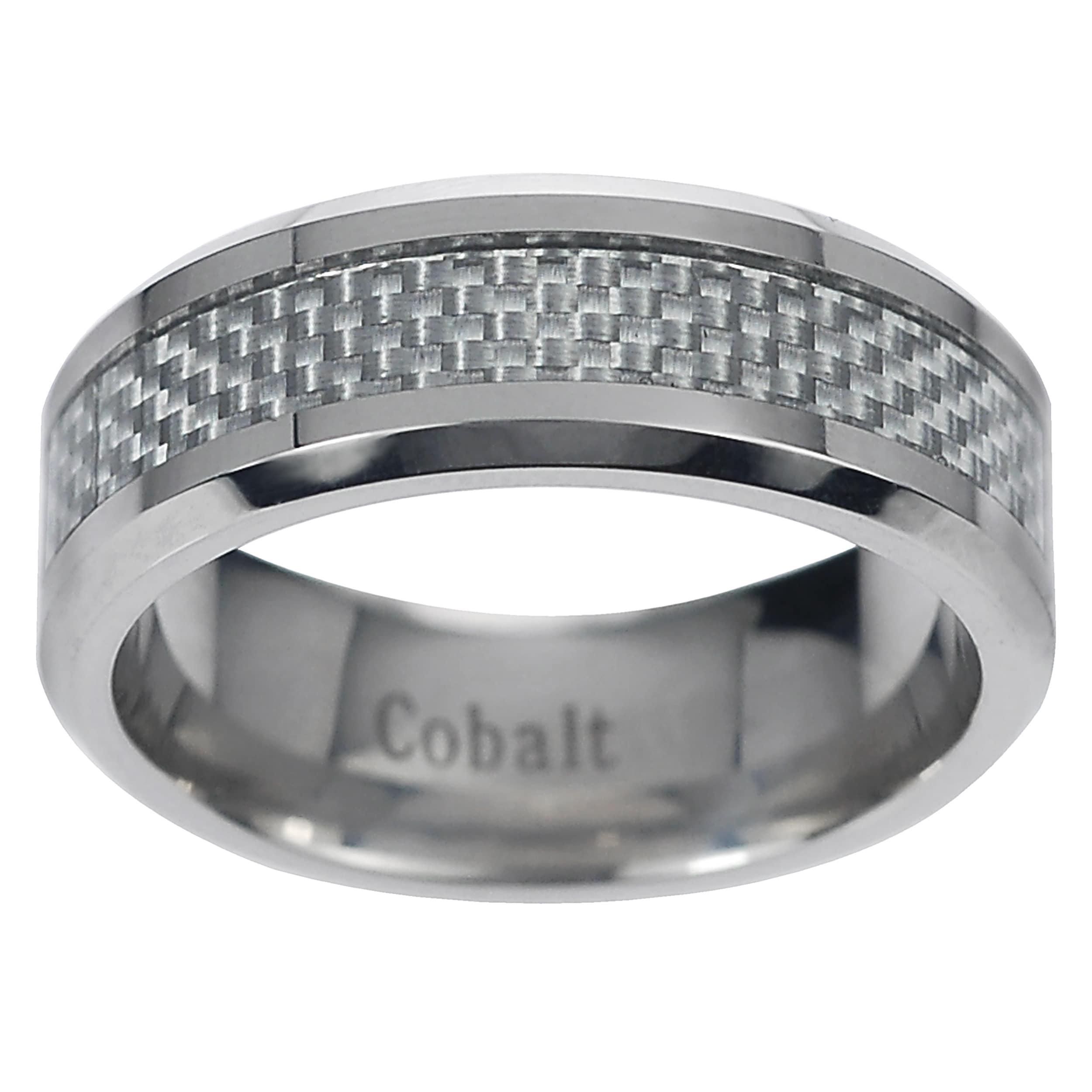 Vance Co. Men's Cobalt Grey Carbon Fiber Inlay Band (8 mm...