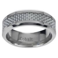 Vance Co. Men's Cobalt Grey Carbon Fiber Inlay Band (8 mm)