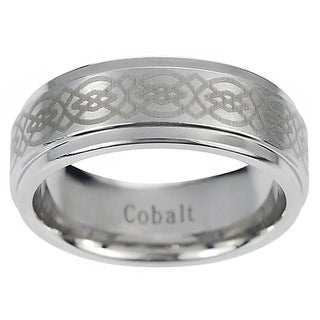 Vance Co. Men's Cobalt Engraved Celtic Design Band (8 mm)