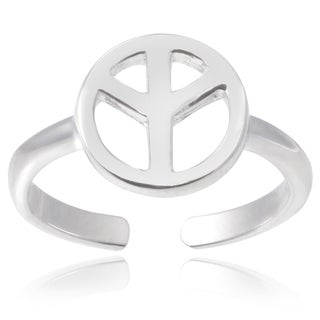 Journee Collection Sterling Silver Adjustable Peace Sign Toe Ring