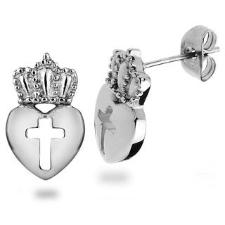 ELYA Stainless Steel Claddagh Cut-out Cross Stud Earrings