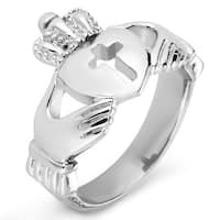 ELYA Polished Stainless Steel Claddagh with Cut-out Cross Ring - 16mm Wide