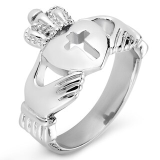ELYA Polished Stainless Steel Claddagh with Cut-out Cross Ring - 16mm Wide (5 options available)