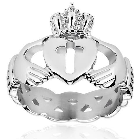 ELYA Stainless Steel Claddagh Eternity Band with Open Cross