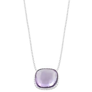 Fremada Sterling Silver Cushion Pink Amethyst Necklace (18 inch)