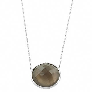 Fremada Sterling Silver Dome Smokey Quartz Necklace (18 inch)