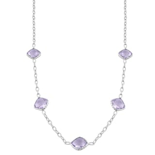 Fremada Sterling Silver Cushion Pink Amethyst Station Necklace (18 inch)