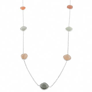 Fremada Sterling Silver Peach and Grey Moonstones Station Necklace (36 inch)