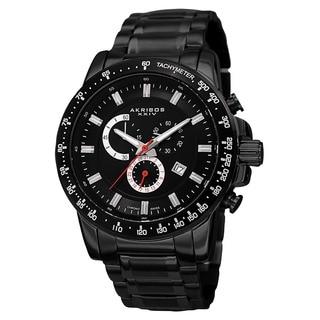 Akribos XXIV Men's Swiss Quartz Chronograph Tachymeter Stainless Steel Black Bracelet Watch