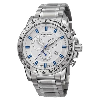 Akribos XXIV Men's Swiss Quartz Chronograph Tachymeter Stainless Steel Silver-Tone Bracelet Watch