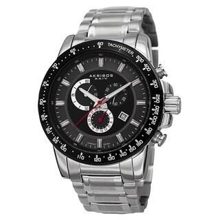 Akribos XXIV Men's Swiss Quartz Chronograph Tachymeter Stainless Steel Silver-Tone Bracelet Watch