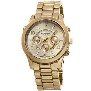 Akribos XXIV Women's Swiss Quartz Sunray Dial Multifunction Gold-Tone Bracelet Watch