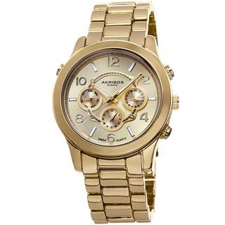 Akribos XXIV Women's Swiss Quartz Sunray Dial Multifunction Gold-Tone Bracelet Watch with FREE GIFT