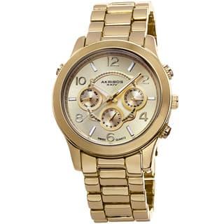 Akribos XXIV Women's Swiss Quartz Sunray Dial Multifunction Gold-Tone Bracelet Watch with FREE GIFT|https://ak1.ostkcdn.com/images/products/8753161/Akribos-XXIV-Womens-Swiss-Quartz-Sunray-Dial-Multifunction-Bracelet-Watch-P15997288.jpg?impolicy=medium