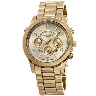 Akribos XXIV Women's Swiss Quartz Sunray Dial Multifunction Gold-Tone Bracelet Watch with FREE Bangle