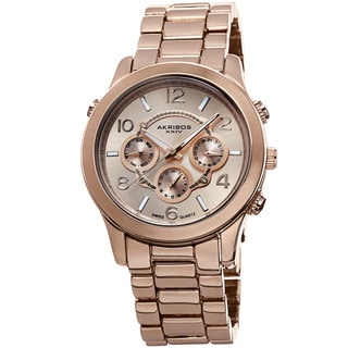 Akribos XXIV Women's Swiss Quartz Sunray Dial Multifunction Rose-Tone Bracelet Watch