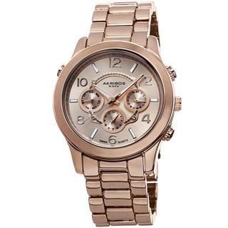 Akribos XXIV Women's Swiss Quartz Sunray Dial Multifunction Rose-Tone Bracelet Watch