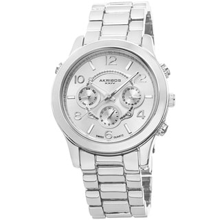 Akribos XXIV Women's Swiss Quartz Sunray Dial Multifunction Silver-Tone Bracelet Watch