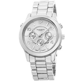 Akribos XXIV Women's Swiss Quartz Sunray Dial Multifunction Silver-Tone Bracelet Watch