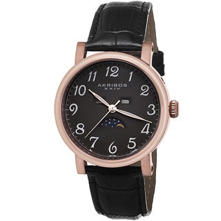 Akribos XXIV Men's Quartz AM/PM Indicator Leather Rose-Tone Strap Watch