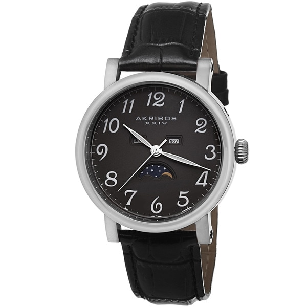 Akribos XXIV Men's Quartz AM/PM Indicator Leather Silver-Tone Strap Watch