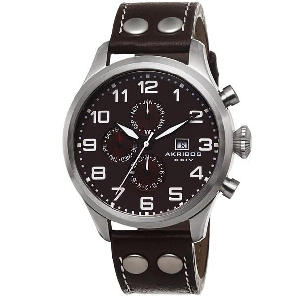 Akribos XXIV Men's Swiss Quartz Multifunction Leather Brown Strap Watch. Opens flyout.