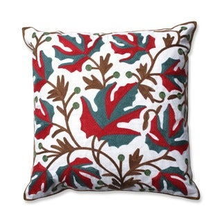 Leaves 18-inch Embroidered Throw Pillow