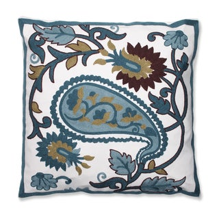 Large Paisley 18-inch Embroidered Throw Pillow