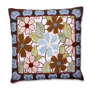 Framed Floral Garden 18-inch Embroidered Throw Pillow