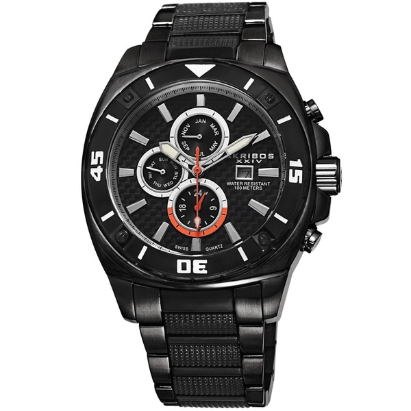 Akribos XXIV Men's Quartz Multifunction Stainless Steel Black Bracelet Watch. Opens flyout.
