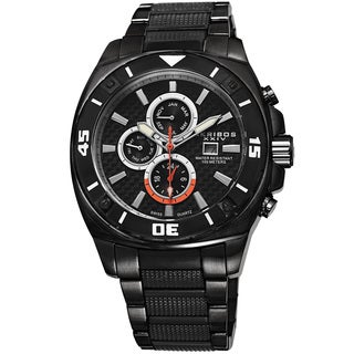 Akribos XXIV Men's Quartz Multifunction Stainless Steel Black Bracelet Watch with FREE GIFT