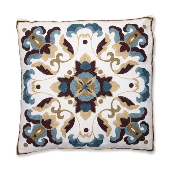Medallion Blue Quatrefoil Embroidered Throw Pillow