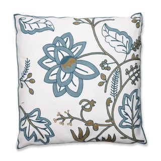 Floral Jacobean 18-inch Embroidered Throw Pillow