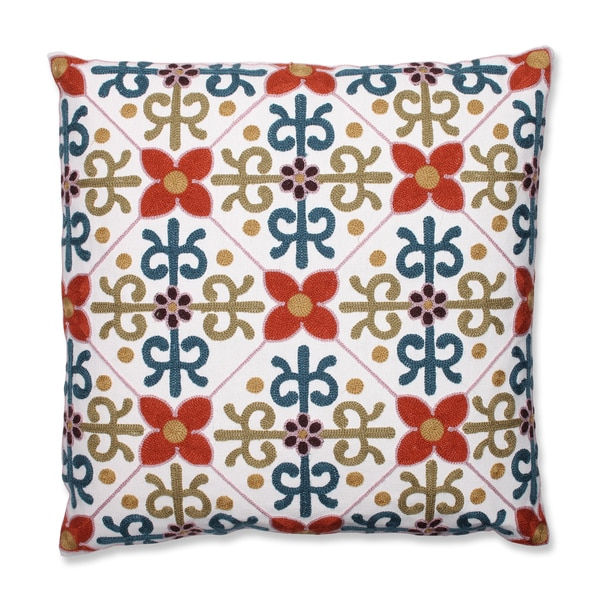 Quatrefoil Tile 18-inch Embroidered Throw Pillow