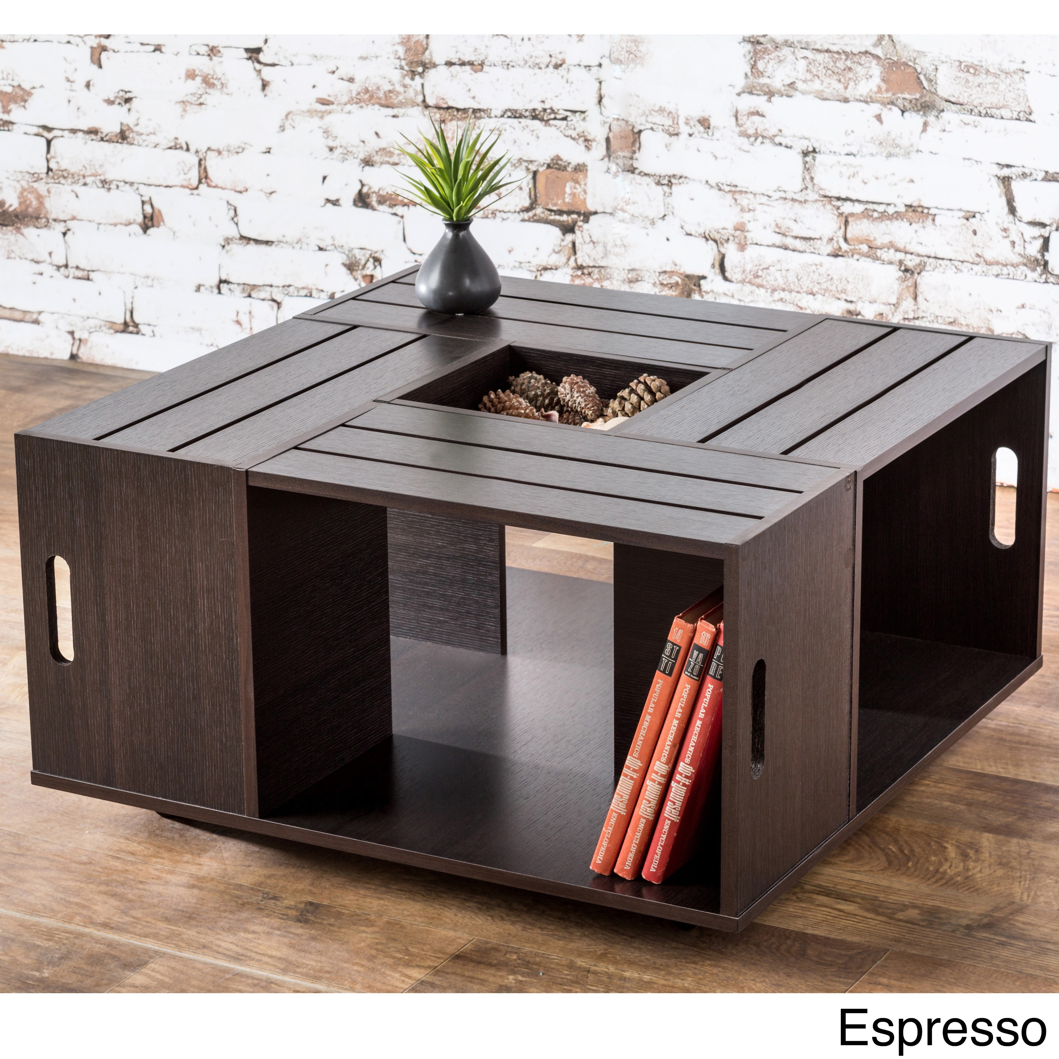 Furniture of America 'The Crate' Square Coffee Table with...
