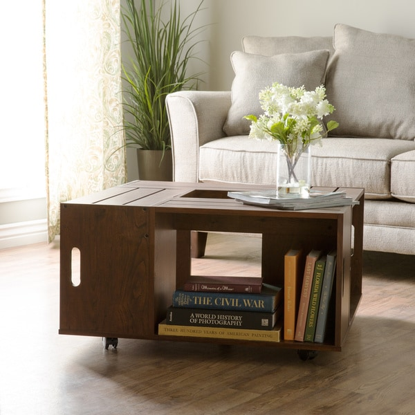 furniture of america 'the crate' square coffee table with open