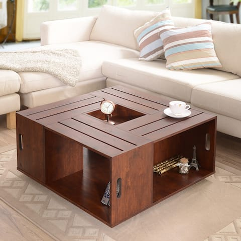 Buy square coffee tables online at overstock our best living the gray barn epona square coffee table with open shelf watchthetrailerfo