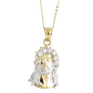 14k Two-Tone Upward Facing Jesus Pendant with CZ Gemstones and Chain