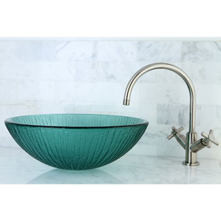 Frosted Clear Glass Bathroom Vessel Sink