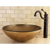 Antique Gold Tempered Glass Vessel Bathroom Sink
