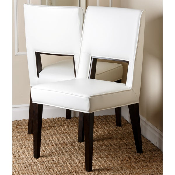 Abbyson Living 'Omaha' White Leather Dining Chair (Set Of