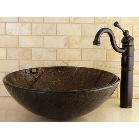 Dark Bronze Tempered Glass Vessel Bathroom Sink