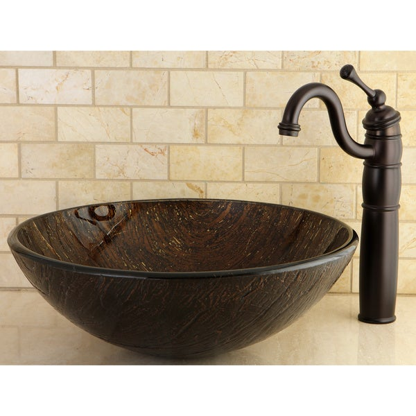 KRAUS Copper Illusion Glass Vessel Sink in Brown with Pop-Up Drain and ...