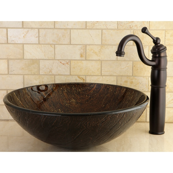 Bathroom Sinks Overstock dark bronze tempered glass vessel bathroom sink - free shipping