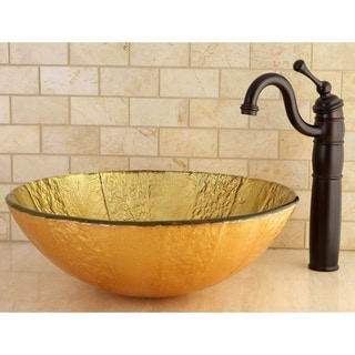 Yellow Tempered Glass Vessel Bathroom Sink