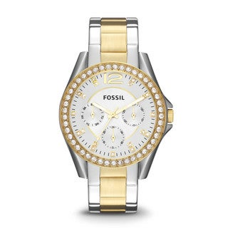 Fossil Women's Riley Silver and Gold-Tone Watch
