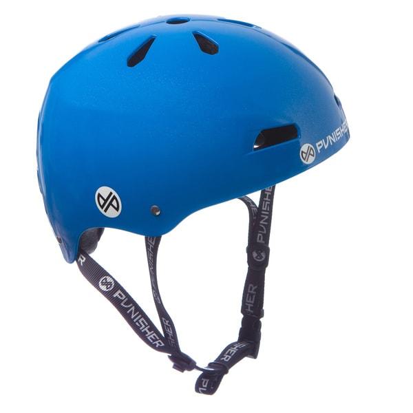 Punisher Skateboards Youth 13-vent Bright Neon Blue Dual Safety Certified BMX Bike and Skateboard Helmet, Size Medium