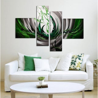 Unknown 'Green Silver Abstract' Hand-painted 4-piece Canvas Art